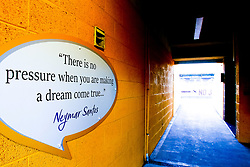 A quote by Neymar Jr. of Paris Saint-Germain and the Brazil national team on a wall at the One Call Stadium, home to Mansfield Town - Mandatory by-line: Ryan Crockett/JMP - 17/09/2019 - FOOTBALL - One Call Stadium - Mansfield, England - Mansfield Town v Cambridge United - Sky Bet League Two