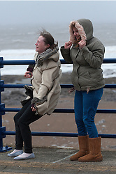 © Licensed to London News Pictures. 8/02/2016. Porthcawl, Bridgend, Wales, UK. Two young ladies hang onto the railings on the promenade to keep their balnce. People struggle to stay on their feet in winds gusting over approximately 60mph. Storm Imogen batters the small Welsh seaside resort of Porthcawl in the county borough of Bridgend on the South coast of Wales, UK. Photo credit: Graham M. Lawrence/LNP