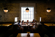 30248072A Nashville, Tenn., - Tiffany Turner, 20, right, of Helen, Ga., celebrates her bachelorette weekend in Nashville with her bridesmaids Gabby Adams, 20, from left, Kaley Dover, 29, Taylor Rogers, 21, and Ashley Bryson, 21, while eating dinner at Pinewood Social. Pinewood Social has taken steps to socially distance in their restaurant and take temperatures of every patron that walks through the door.