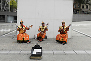 France, Paris, Mongolian street musicians at the Centre Georges Pompidou