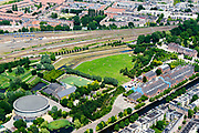 Nederland, Amsterdam, Stadsdeel Westerpark, 29-06-2018; Staatsliedenbuurt, overzicht terrein voormalige Westergasfabriek. Haarlemmervaart, Spaarndammerbuurt.<br /> Former Western gasworks.<br /> <br /> luchtfoto (toeslag op standard tarieven);<br /> aerial photo (additional fee required);<br /> copyright foto/photo Siebe Swart
