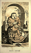"""Benedictine Monk (Monachus Benedlctinus) from the book ' Monachologia, or, Handbook of the natural history of monks : arranged according to the Linnean system ' by Born, Ignaz Edler von, 1742-1791; Krasinski, Walerian, 1780-1855 Published in 1852 in Edinburgh by Johnstone & Hunter. This is a  Victorian anti-Catholic/anti-European satire or parody written in pseudo-scientific natural history jargon, complaining of the laziness, odd dress & weird habits (literally!), strange hours & stranger noises of various orders of monks, deposited of British shores by Papist Europeans of little merit and bad intent. Each major order of Monk is depicted & described in most unflattering terms. """"Hence it is evident, that the monk forms a distinct class of mammalia, which holds a middle place, and forms a connecting link between man and monkey."""""""