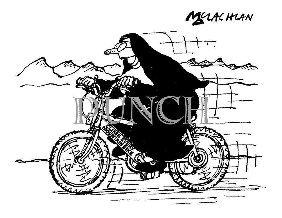 (A nun rides a mountain bike with the brand name 'Climb Every Mountain Bike')