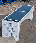 Solar smartphone charging bench. Photographed in Jaffa, Israel