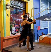 Tango dancers in La Boca, Buenos Aires, Federal District, Argentina.