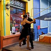 Tango dancers in La Boca, Buenos Aires, Federal District, Argentina.