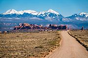 La Sal Mountains. Arches National Park, Moab, Utah, USA.