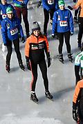 De Hollandse 100 op FlevOnice, een sportief evenement ter ondersteuning van onderzoek naar lymfeklierkanker. Een oer-Hollandse duatlon bestaande uit twee onderdelen: schaatsen en fietsen. <br /> <br /> The Dutch 100 on FlevOnice, a sporting event to support research into lymphoma. A traditional Dutch duathlon consisting of two components: skating and cycling.<br /> <br /> Op de foto: Prinses Aimee