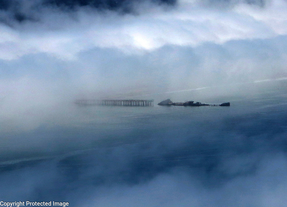 The cement ship SS Palo Alto, which has been a Santa Cruz County landmark since 1930, peeks out of the morning fog.<br /> Photo by Shmuel Thaler <br /> shmuel_thaler@yahoo.com www.shmuelthaler.com