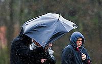 AERDENHOUT - 09-04-2012 - Veel regen , maandag tijdens de finale tussen Nederland Jongens A en Engeland Jongens A  (3-3) , tijdens het Volvo 4-Nations Tournament op de velden van Rood-Wit in Aerdenhout. Engeland wint met shoot-outs. FOTO KOEN SUYK