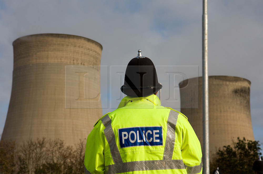 """© under license to London News Pictures. FILE PICTURES 22/11/2010: 20 have gone on trial, accused of attempting to shut down the Ratcliffe-On-Soar coal-fired power station, near Nottingham, in April 2009. In October that same year, protesters from """"Camp for Climate Action"""" and police clashed at the E.on operated station."""
