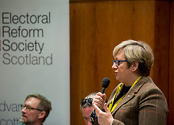 Pictured: Joanna Cherry MSP speaks to a fringe meeting at the conference discussing citizen's assemblies.<br /> <br /> The SNP held their spring conference at the EICC in Edinburgh, where independence and brevet were high on the agenda.<br /> <br /> © Dave Johnston / EEm