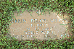 31 August 2017:   Veterans graves in Park Hill Cemetery in eastern McLean County.<br /> <br /> Orrin Delos Willan  Illinois S1 US Navy  World War II  May 18 1915  Dec 29 1969