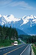 Alaska. Seward Highway. Turnagain Pass and the Chugach Mts. with RV