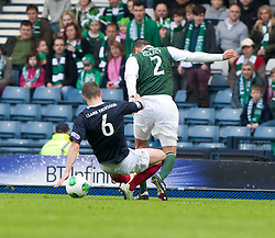 Falkirk's Stewart Murdoch  brings down Hibernian's Tim Clancy for a penalty claim..Hibernian 4 v 3 Falkirk, William Hill Scottish Cup Semi Final, Hampden Park..©Michael Schofield..