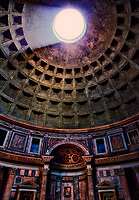 """""""The oculus of the 2000 year-old Pantheon of Santa Maria""""...<br /> <br /> The ancient Pantheon is still the world's largest unreinforced concrete dome.  Both the height and the diameter of the dome is exactly 142 feet.  The Romans were so far ahead of their time...just imagine the possibilities if the empire had survived. The Pantheon is now an active Catholic church known as Santa Maria Rotonda.  The ancient tradition of dropping rose petals from the open oculus happens at noon every Pentecostal Sunday during Mass.  The rose petals symbolize the descent of the Holy Spirit falling on the apostles and the faithful, and it dates back as early as 600 years after the birth of Christ.  Vigili del Fuoco (firefighters) of Rome, climb on top of the Pantheon's dome, and drop thousands of rose petals as the choir chants the sequence of Veni Sancte Spiritus."""