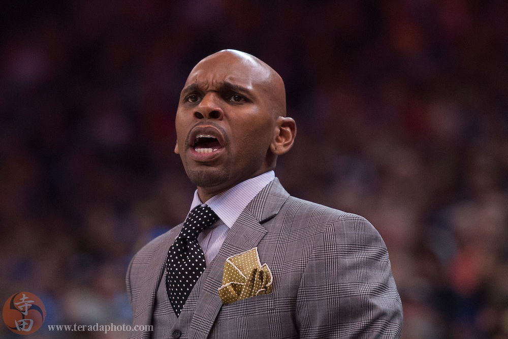 November 17, 2015; Oakland, CA, USA; Toronto Raptors assistant coach Jerry Stackhouse during the first quarter against the Golden State Warriors at Oracle Arena. The Warriors defeated the Raptors 115-110.