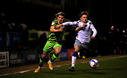 Josh Davison of Forest Green Rovers jostles with Noah Chilvers of Colchester United- Mandatory by-line: Nizaam Jones/JMP - 27/02/2021 - FOOTBALL - The innocent New Lawn Stadium - Nailsworth, England - Forest Green Rovers v Colchester United - Sky Bet League Two