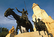 SPAIN, MADRID, MONUMENTS Plaza de Espana with the famous Cervantes Monument and statue of Don Quixote and Sancho Panza