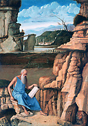 St Jerome Reading in a Landscape', c1480-1485. Tempera and oil on wood. Giovanni Bellini (1426-1516) Italian Renaissance painter. Jerome (c340-420) a father of  Western Christian Church and compiler of the Vulgate.