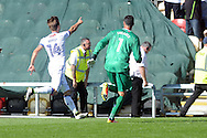 Kevin Hurst (l) celebrates after he scores his teams 3rd goal,  his last minute winner with goalkeeper Scott Shearer as they run towards their fans. Skybet EFL league two match, Newport county v Mansfield Town at Rodney Parade in Newport, South Wales on Saturday 6th August 2016.<br /> pic by Carl Robertson, Andrew Orchard sports photography.