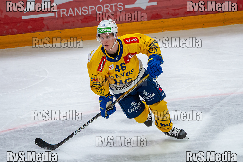 LAUSANNE, SWITZERLAND - SEPTEMBER 24: Dominik Egli #46 of HC Davos in action during the Swiss National League game between Lausanne HC and HC Davos at Vaudoise Arena on September 24, 2021 in Lausanne, Switzerland. (Photo by Robert Hradil/RvS.Media)