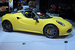 11 February 2016: Alfa Romeo 4C.<br /> <br /> First staged in 1901, the Chicago Auto Show is the largest auto show in North America and has been held more times than any other auto exposition on the continent.  It has been  presented by the Chicago Automobile Trade Association (CATA) since 1935.  It is held at McCormick Place, Chicago Illinois<br /> #CAS16