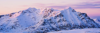 Justadtind mountain peak, Vestvagoy, Lofoten islands, Norway