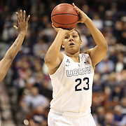 Kaleena Mosqueda-Lewis, UConn, shoots for three during the UConn Huskies Vs USF Bulls Basketball Final game at the American Athletic Conference Women's College Basketball Championships 2015 at Mohegan Sun Arena, Uncasville, Connecticut, USA. 9th March 2015. Photo Tim Clayton