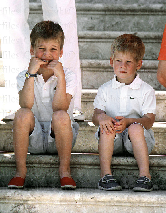 Prince William and Prince Harry seen on holiday at the Marivent Palace,Palma, Majorca in August 1988. Photographed by Jayne Fincher.