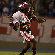 Renato of Flamengo is congratulated by team mate Toro (5)  after scoring his sides third goal from a blistering free kick during the Flamengo V  Fluminense, Futebol Brasileirao  League match at Estadio Olímpico Joao Havelange, Rio de Janeiro, The classic Rio derby match ended in a 3-3 draw. Rio de Janeiro,  Brazil. 19th September 2010. Photo Tim Clayton.