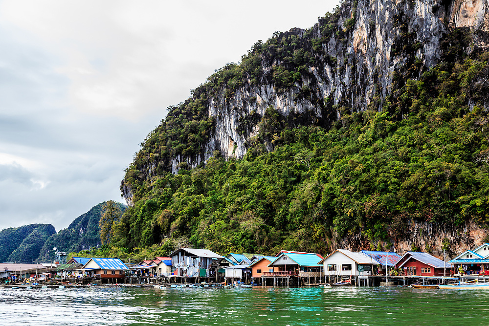 Koh Panyee village in Phang Nga Bay, Thailand. Panyee village has its school, a mosque, a health center, lots of small souvenir shops and a handful of seafood restaurants. Overnight accommodation is also available.