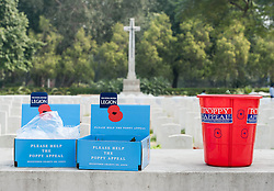© Licensed to London News Pictures. 11/11/2012. Delhi, India. Collection boxes decorated with poppies sit on top of a memorial at a Remembrance Day ceremony held at the Delhi War Cemetery, India. Remembrance Day (also known as Poppy Day or Armistice Day) is a memorial day observed in Commonwealth countries since the end of World War I to remember the members of their armed forces who have died in the line of duty. This day, or alternative dates, are also recognized as special days for war remembrances in many non-Commonwealth countries. Remembrance Day is observed on 11 November to recall the end of hostilities of World War I on that date in 1918.   Photo credit : Richard Isaac/LNP