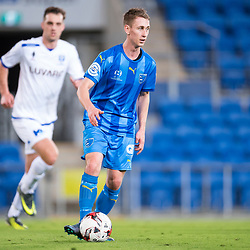 BRISBANE, AUSTRALIA - SEPTEMBER 20: Jaiden Walker of Gold Coast City in action during the Westfield FFA Cup Quarter Final match between Gold Coast City and South Melbourne on September 20, 2017 in Brisbane, Australia. (Photo by Gold Coast City FC / Patrick Kearney)