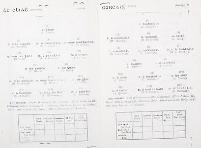 All Ireland Senior Hurling Championship Final,.Brochures,.28.09.1941, 09.28.1941, 28th September 1941, .Cork 5-11, Dublin 0-6, .Minor Cork v Galway, .Senior Dublin v Cork, .Croke Park, ..Dublin Senior Team, C Forde, Goalkeeper, D Nicholl, Right corner-forward, M Connolly, Full-back, C McMahon, Left corner-back, M Gill, Right half-back, P O'Farrell, Centre half-back, J Byrne, Left half-back, F White, Midfielder, H Gray, Midfielders, M McDonald, Right half-forward, E Wade, Captain, Centre half-forward, G Glen, Left half-forward, E O'Boyle, Right corner-forward, P McSweeney, Centre forward, C Downes, Left corner-forward, Substitutes, D Conway, R O'Brien, G O'Brien, J Roche, D Davitt, T Leahy, ..Cork Senior Team, J Buttimer, Goalkeeper, W Murphy, Right corner-back, B Thornhill, Full-back, A Lotty, Left corner-back, W Campbell, Right half-back, C Cotterell, Centre half-back, J Buckley, Left half-back, J Barrett, Midfielder, J Lynch, Midfielder, C Ring, Right half-forward, C Buckley, Captain, Centre half-forward, J Young, Left half-forward, J Quirke, Right corner-forward, T O'Sullivan, Centre forward, M Brennan, Left corner-forward, Substitutes, P O'Donovan, Jas Ryng, A Slattery, D McCarthy, D Beckett,