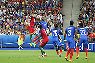 Portugal Defender Jose Fonte heads with France Defender Bacary Sagna during the Euro 2016 final between Portugal and France at Stade de France, Saint-Denis, Paris, France on 10 July 2016. Photo by Phil Duncan.