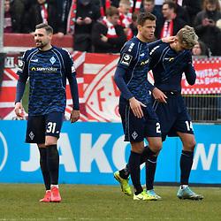 Nach dem Spiel v.l. Waldhofs Marcel Hofrath (Nr.31), Waldhofs Michael Schultz (Nr.23) und Waldhofs Maurice Deville (Nr.14)  beim Spiel in der 3. Liga, FC Wuerzburger Kickers - SV Waldhof Mannheim.<br /> <br /> Foto © PIX-Sportfotos *** Foto ist honorarpflichtig! *** Auf Anfrage in hoeherer Qualitaet/Aufloesung. Belegexemplar erbeten. Veroeffentlichung ausschliesslich fuer journalistisch-publizistische Zwecke. For editorial use only. DFL regulations prohibit any use of photographs as image sequences and/or quasi-video.