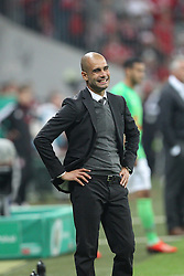 25.09.2013, Allianz Arena, Muenchen, GER, DFB Pokal, FC Bayern Muenchen vs Hannover 96, 2. Runde, im Bild Chef-Trainer Pep GUARDIOLA (FC Bayern Muenchen) verzieht das Gesicht // during German DFB Pokal Match between FC Bayern Munich and Hannover 96 at the Allianz Arena, Munich, Germany on 2013/09/25. EXPA Pictures © 2013, PhotoCredit: EXPA/ Eibner/ Christian Kolbert<br /> <br /> ***** ATTENTION - OUT OF GER *****
