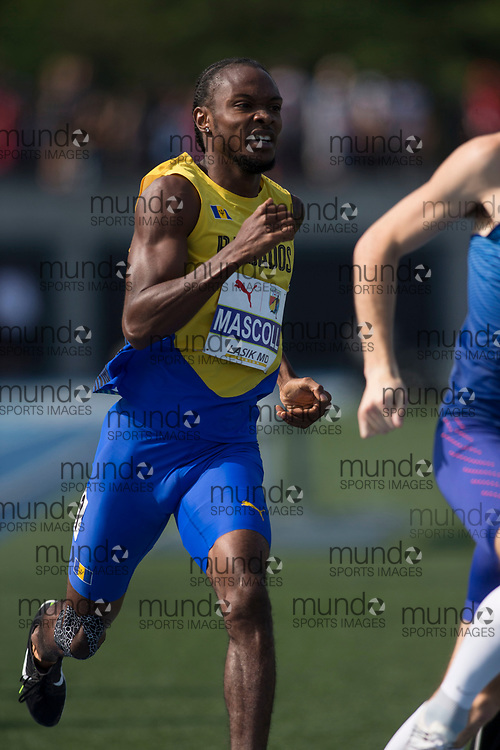 Toronto, ON -- 11 August 2018: Anthonio Mascolli (Barbados), 800m final at the 2018 North America, Central America, and Caribbean Athletics Association (NACAC) Track and Field Championships held at Varsity Stadium, Toronto, Canada. (Photo by Sean Burges / Mundo Sport Images).