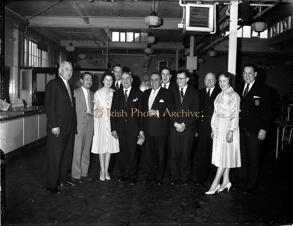 """26/01/1962<br /> 01/26/1962<br /> 26 January 1962<br /> Crew members of the British Railways vessel """"Cambria"""" touring W.D. and H.O. Wills factory, Dublin. (l-r): Mr. E.A. Williams, Wills representative in Dublin; Mr. C.W. Coombes; Miss Ann Mullally; Mr. F. Coriam; Mr. B. Parry; Mr. J.L. Hughes; Mr. T.W. W. Irvine, Factory Manager; Mr. P.M. Roberts; Mr. T.D. Humphreys; Miss Helen Graham and Mr. S. Bayliss."""
