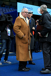 21st October 2017 - Premier League - Manchester City v Burnley - BBC Commentator John Motson appears before the match wearing his trademark sheepskin coat - Photo: Simon Stacpoole / Offside.