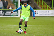Forest Green Rovers Dale Bennett(2) warming up during the The FA Cup match between Forest Green Rovers and Exeter City at the New Lawn, Forest Green, United Kingdom on 2 December 2017. Photo by Shane Healey.