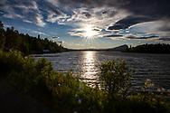 VILDMARKSVÄGEN JULI 2020<br /> Solnegång vid Saxnäsgården över Kultsjön under helgens tur efter Vildmarksvägen.<br /> Foto: Per Danielsson/Projekt.P