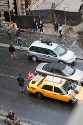 """Filming of a crash scene with dummies on top of cars, on the third day of the movie """"World War Z"""" being shot in the city centre of Glasgow. The film, which is set in Philadelphia, is being shot in various parts of Glasgow, transforming it to shoot the post apocalyptic zombie film."""