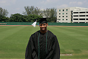 New England Patriots defensive back Duane Starts participates in Commencement ceremonies at the University of Miami in Coral Gables, Florida on May 13, 2005 after recently returning to school to complete his degree.