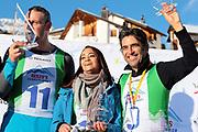 Nöldi Forrer, Alina Buchschacher und André Roger Weiss, Gewinner vom «Renzo's Schneeplausch» vom 23. Januar 2016 in Vella, Gemeinde Lumnezia.