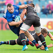 DUBLIN, IRELAND:  October 9:   Ed Byrne #1 of Leinster is tackled by Iacopo Bianchi #6 of Zebre and Ion Neculai #3 of Zebre during the Leinster V Zebre, United Rugby Championship match at RDS Arena on October 9th, 2021 in Dublin, Ireland. (Photo by Tim Clayton/Corbis via Getty Images)