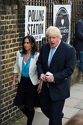 © London News Pictures. 07/05/2015. Mayor of London BORIS JOHNSON and his wife MARINE WHEELER arriving to at his local polling station in Islington, North London, on the day that the UK goes to the polls in the 2015 general election. Photo credit: Ben Cawthra/LNP