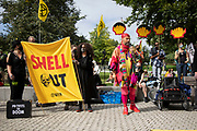 Speakers at the Extinction Rebellion 'Shell Out' protest on 8th September 2020 in London, United Kingdom. The environmental group gathered outside the Shell building to protest at the ongoing extraction of fossil fuels and the resulting environmental record. Extinction Rebellion is a climate change group started in 2018 and has gained a huge following of people committed to peaceful protests. These protests are highlighting that the government is not doing enough to avoid catastrophic climate change and to demand the government take radical action to save the planet.