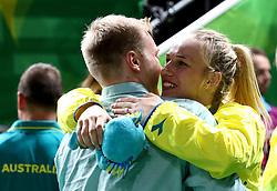 Australia's Nicole Seekamp (right) gets engaged after receiving her gold medal in the Women's Gold Medal Game at the Gold Coast Convention and Exhibition Centre during day ten of the 2018 Commonwealth Games in the Gold Coast, Australia.